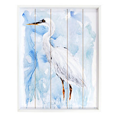Egret Bird Framed Wood Art Print