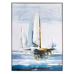 Quiet Boats Framed Canvas Art Print