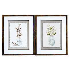 Mason Jar Bouquet Framed Art Prints, Set of 2