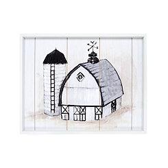 Monochrome Farmhouse Framed Wood Art Print