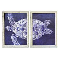 Blue Turtle Split Framed Art Prints, Set of 2
