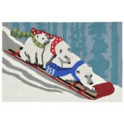 Polar Bear Sled Indoor/Outdoor Large Accent Rug