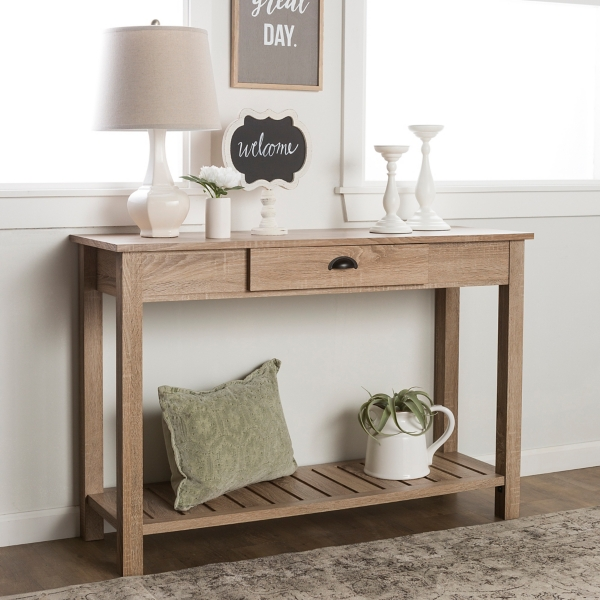 Country Style Natural Wood Console Table
