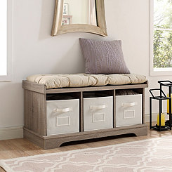 Driftwood Wooden Storage Bench with Totes