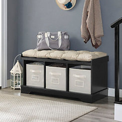 Black Wooden Storage Bench with Totes