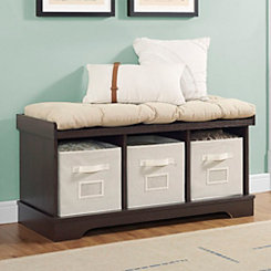 Espresso Wooden Storage Bench with Totes