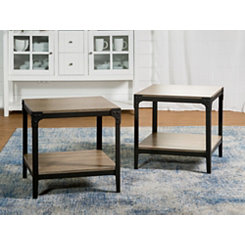 Driftwood Angle Iron Accent Tables, Set of 2