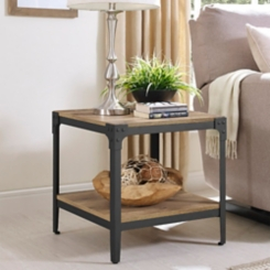 Barnwood Angle Iron Accent Tables, Set of 2