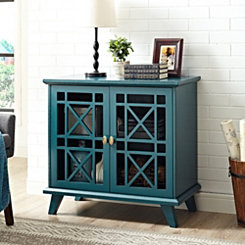 Georgia Blue Fretwork 2-Door Accent Cabinet