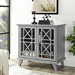 Georgia Gray Fretwork 2-Door Accent Cabinet