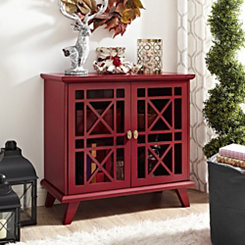 Georgia Red Fretwork 2-Door Accent Cabinet
