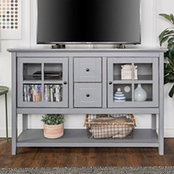 Antique Gray Wood Buffet Media Console