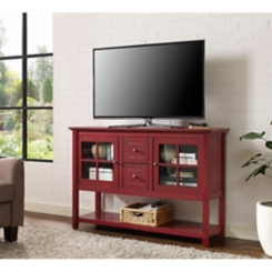 Antique Red Wood Buffet Media Console