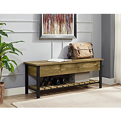 Barnwood Lift-Top Storage Bench