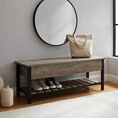 Graywashed Lift-Top Storage Bench