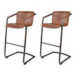 Ian Antique Brown Leather Bar Stools, Set of 2