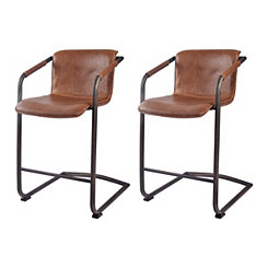 Ian Antique Brown Leather Counter Stools, Set of 2