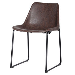 Vintage Faux Leather Brown Dining Chairs, Set of 2