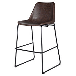 Vintage Faux Leather Brown Counter Stool