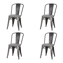 Maddox Gray Metal Dining Chairs, Set of 4