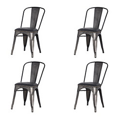 Maddox Black Metal Dining Chairs, Set of 4