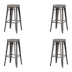 Maddox Gray Metal Counter Stools, Set of 4