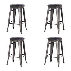 Maddox Black Metal Counter Stools, Set of 4