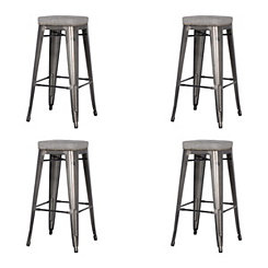 Maddox Gray Metal Bar Stools, Set of 4