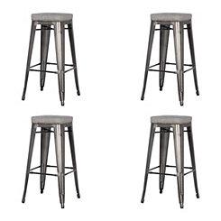 Maddox Gray Metal Bar Stools, Set of 4