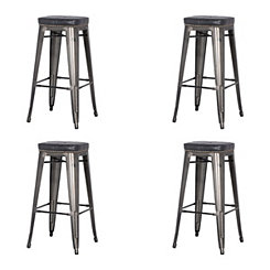 Maddox Black Metal Bar Stools, Set of 4