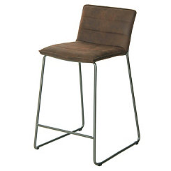 Keagan Brown Faux Leather Counter Stools, Set of 2