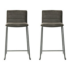 Keagan Black Faux Leather Counter Stools, Set of 2