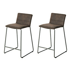 Antique Faux Leather Brown Bar Stools, Set of 2