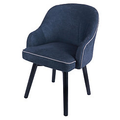 Swivel Blue Denim with Black Legs Accent Chair