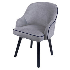 Swivel Gray Denim with Black Legs Accent Chair