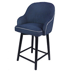 Swivel Blue Denim with Black Legs Counter Stool