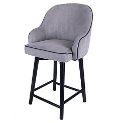 Swivel Gray Denim with Black Legs Counter Stool