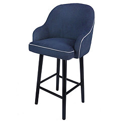 Swivel Blue Denim with Black Legs Bar Stool