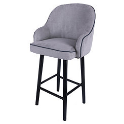 Swivel Gray Denim with Black Legs Bar Stool