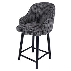 Swivel Herringbone with Black Legs Counter Stool