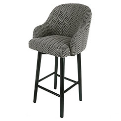 Swivel Herringbone with Black Legs Bar Stool