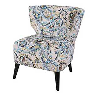 Mazarine Paisley with Black Legs Accent Chair