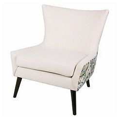 Two-Tone Fabric with Paisley Back Accent Chair
