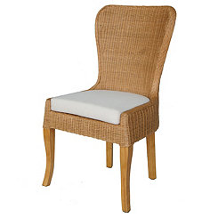 Brown Handwoven Rattan Dining Chairs, Set of 2