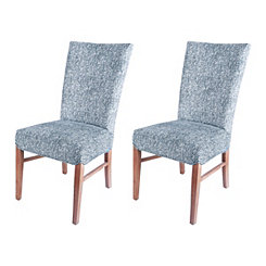 Modern Blue Herringbone Dining Chairs, Set of 2