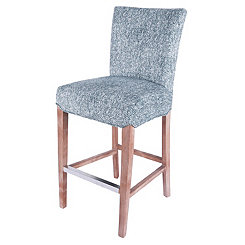 Modern Blue Herringbone Bar Stool