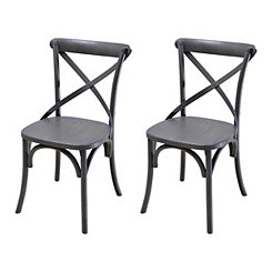 Lexi Gray X-Back Dining Chairs, Set of 2