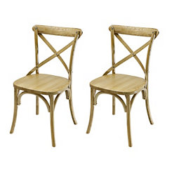 Farmhouse Natural Wooden Dining Chairs, Set of 2