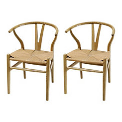 Natural Woven Rope Seat Dining Chairs, Set of 2