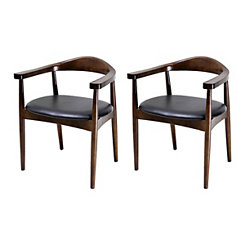 Faux Leather Walnut Accent Chairs, Set of 2